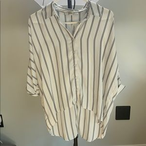 striped button down shirt with shoulder cut out